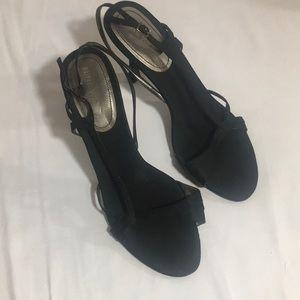 Black strappy open toe Nine West heels